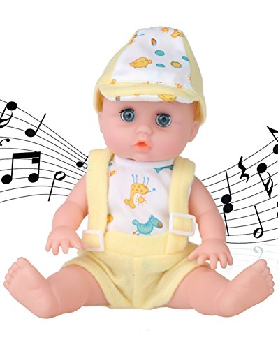 Musical Newborn Doll (10〞Alive Baby Boy Doll -Musical Reborn baby dolls With Open/Close Eyes, Maize-Yellow dress The Best Gift)