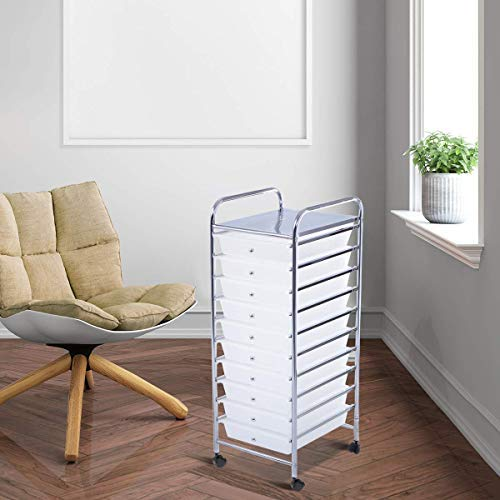 Giantex 10 Drawer Rolling Storage Cart Scrapbook Paper Office School Organizer (Clear) by Giantex (Image #5)