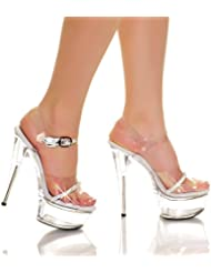 THE HIGHEST HEEL AMBER-861-RS Womens 6 Ankle Strap Platform Sandals Sexy Shoes, Color:Clear Vinyl, Size:6