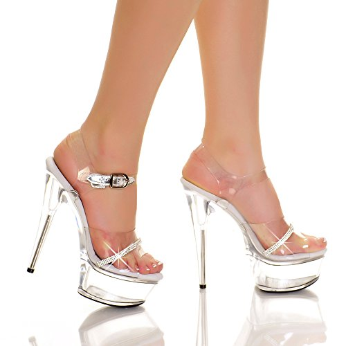 Highest Heel in. AMBER-861-RS-CVYN-6 6 in. Heel Upper with Rhinestone Trim on Vamp - Clear Vinyl B00KR5RRBS Shoes 153acb