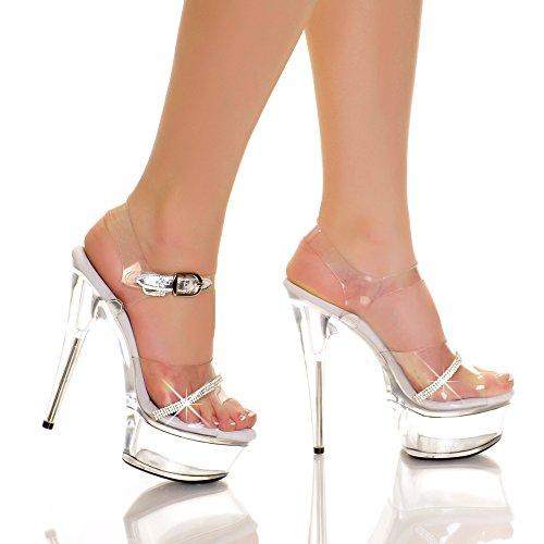Trasparente Sandalo Con Plateau E Vinile Trasparente Adulto Strass