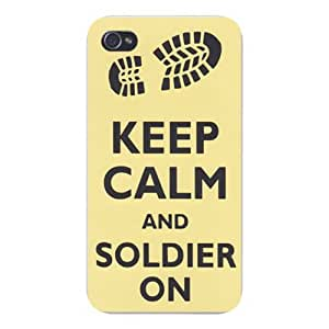 Apple Iphone Custom Case 5c White Plastic Snap on - Keep Calm and Soldier On Army Boot Print