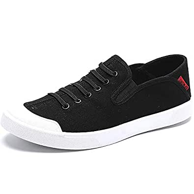 Shoes for Men Sneakers for Men Casual Skater Sports Shoes Elastic Lace Up Canvas Walking Shoes Round Toe Comfortable Casual Shoes (Color : Black, Size : 6 UK)