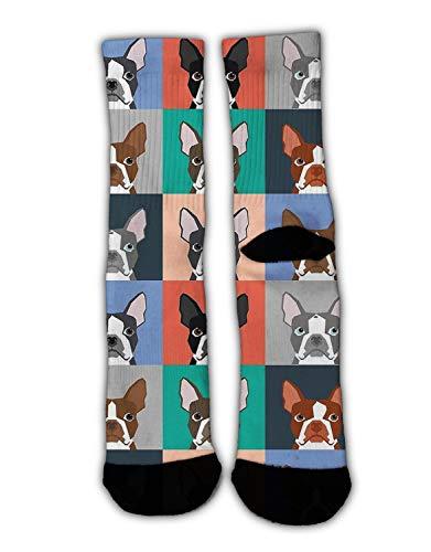 KYWYN Unisex Boston Terriers Bulldog Dog Cozy Cotton Athletic Crew Socks Fun Cute Dress Socks,Novelty Gift for Kids Teens -