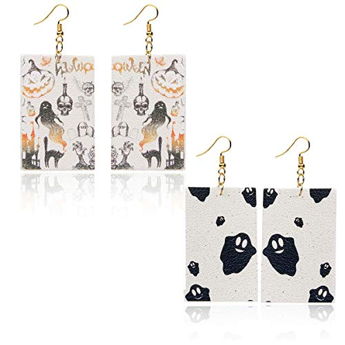 Halloween Leather Geometric Square Earrings-2 Pairs of Earrings White Ghost Pumpkin Skeleton Skull Boo Dangle Earring Set -