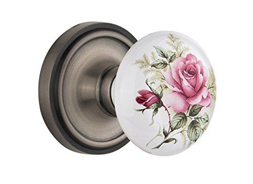 - Nostalgic Warehouse Classic Rosette with Rose Porcelain Door Knob, Mortise - 2.25