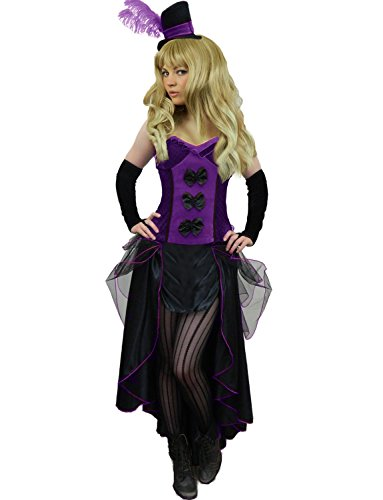 Purple Saloon Girl Costume (Yummy Bee Womens Burlesque Can Can Saloon Girl Costume + Wide Striped Tights Purple Size 4 - 6)