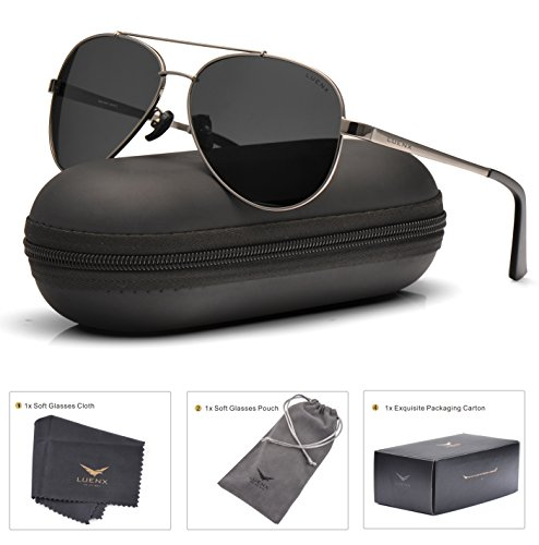 LUENX Mens Aviator Sunglasses Polarized : UV 400 Protection with Case 60MM