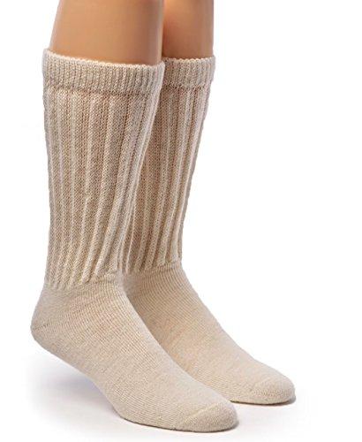 Warrior Alpaca Socks - Men's & Women's Extra Wide Loose Top Casual Crew Alpaca Socks with Comfort Band (Large, Off-White - Socks Loose Mens