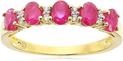 Gold-Plated Silver Burmese Ruby and White Zirconia 5-stone Stackable Ring, Size 7