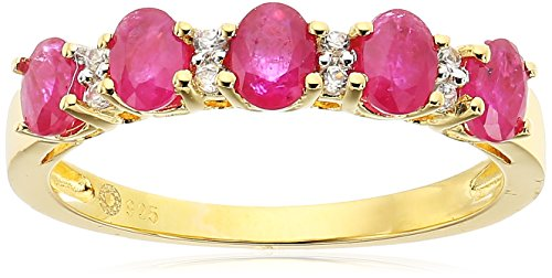 Yellow Gold-Plated Silver Burmese Ruby and White Zirconia 5-stone Stackable Ring, Size 7 Burmese Ruby