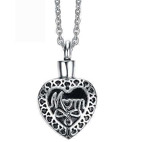 1309753dfbed En venta Epinki Acero Inoxidable Plata Corazón Forma Mom Cremación Urna  Collar Colgante Cenizas Joyería Memorial