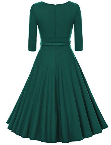 MUXXN Women's 1950s Vintage 3/4 Sleeve Pleated Scoop Neckline Swing Cocktail Dress (L, Dark Green)