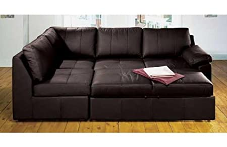 Alonza Brown Left Hand Corner Sofa Bed Bonded Leather (With ...