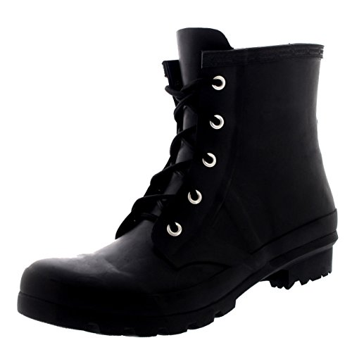 Polar Products Womens Military Style 100% Rubber Waterproof Lace Up Snow Rain Boots