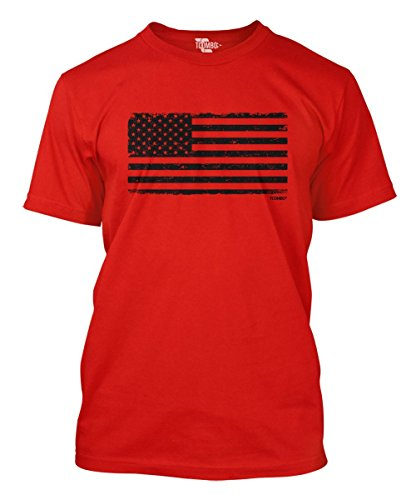 (Distressed Black USA Flag Men's T-Shirt (Red,)