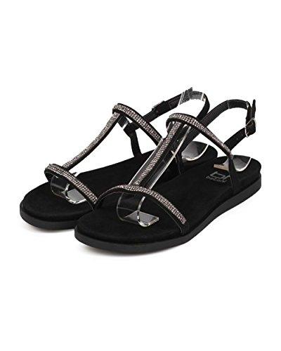 BETANI EE66 Women Suede Open Toe Rhinestone T-Strap Slingback Sandal - Black B1PZnbvX