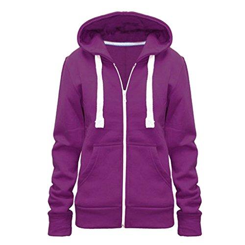 Ware tinta Outlet cerniera donna felpa cappuccio Purple da con Home unita e Zzdqpn