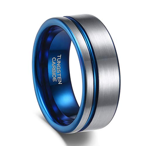 Quality Tungsten Ring - 8mm Tungsten Carbide Wedding Ring Band for Men Women Rose Gold/Blue/Black Comfort Fit Size 7-12 (Silver&Blue, 7.5)