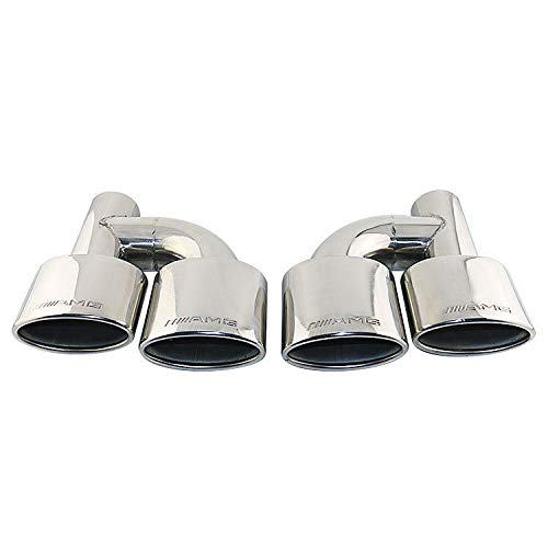 Exhaust Amg Tips (FidgetFidget Stamped AMG Double Wall Oval Car Dual Exhaust Tips for 2.5in. Right Angle Inlet)