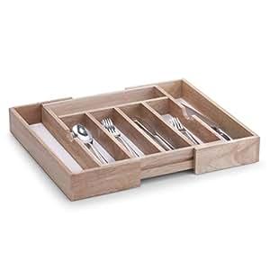 Zeller 24046 - Cubertero de madera y melamina, tamaño regulable (31,5-50 x 38 x 6 cm)