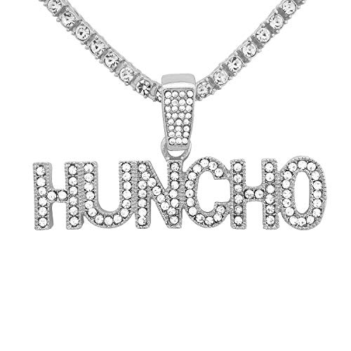 White Gold-Tone Hip Hop Bling Iced Out Quavo Huncho Letter Pendant with 16