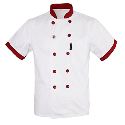 Manches Courtes Fityle Cocina De Uniforme Blanco Air Unisexe Multicolore Maille Manteau Chef 8wH7fwpx