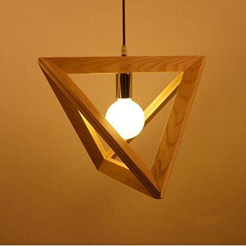 Wei-d Single Wooden Chandelier Simple Living Room Restaurant Bar Triangle Solid Wood Art Geometry Pendant Light , 370mm by WEIWEI