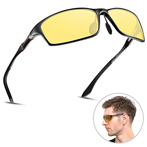 HD Polarized Night Driving Glasses, Mens Womens Anti-glare Night Vision Glasses For Driving (Yellow-2)
