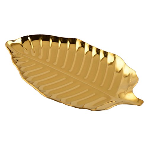 MagiDeal Dry Fruit Snack Dish Dessert Plates Stainless Steel Gold Leaf Shape Decorative Plates and Bowls Tray for Necklace Earrings Rings Bracelet Organizer 6.69 x 3.74''