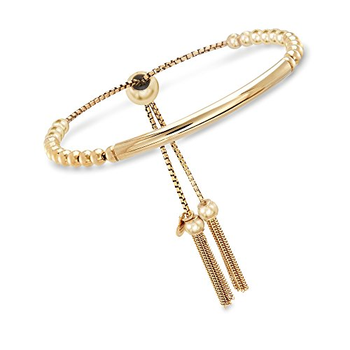 Ross-Simons Italian 18kt Yellow Gold Over Sterling Silver Beaded Bolo Bracelet ()