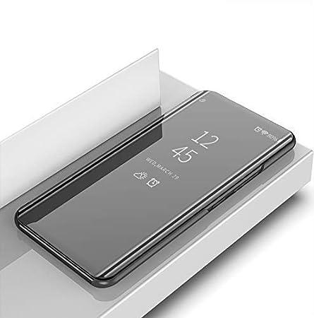 DIFE Ultra Delgado Transl/úcido Espejo con Funci/ón Kickstand Flip Funda Carcasa Case para Huawei Mate 20 Lite Silver