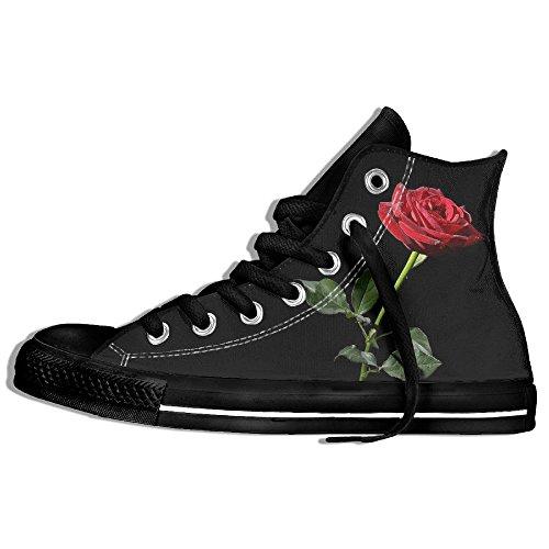 Classiche Sneakers Alte Scarpe Di Tela Anti-skid Rosa Rossa Casual Da Passeggio Per Uomo Donna Nero