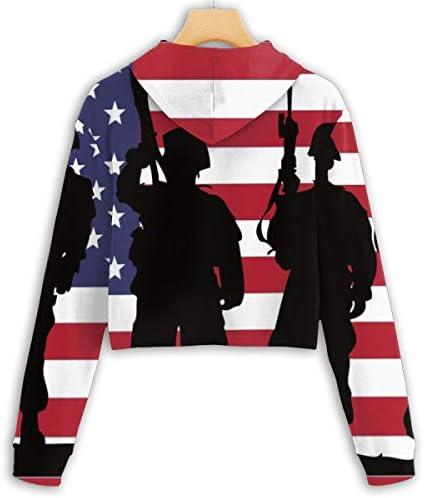 ハッピー退役軍人の日クロップドパーカー女性の2019ファッション長袖パッチワーククロップトップスウェットシャツスポーツジムオフィススクール