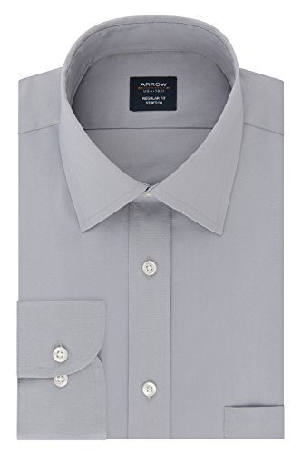 Arrow 1851 Men's Dress Shirt Regular Fit Stretch Poplin Solid