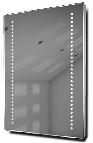 Illuminated Mirrors Gaze Ultra-Slim LED Bathroom Mirror with Demister and Sensor, Silver by Diamond X Collection by Diamond X Collection