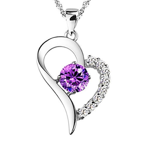 You Are the Only One in My Heart [Purple] Sterling Silver Pendant Necklace