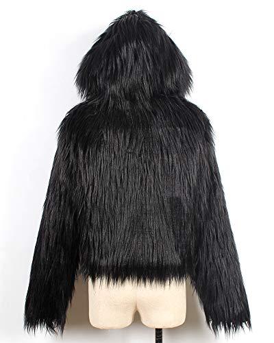 En Fausse Capuche Manches À Vestes Automne À Noir Longues Manteaux Court Femme Chaud Fourrure Hiver Zhuikuna qnzHxSawgU