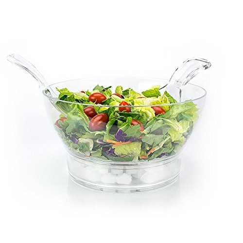 iKitchenPlus Iced Salad Bowl with Servers - Entertain With Ease - Keep Your Food Safe, Dishes Fresh and Great Tasting While Enjoying Quality Time with Your Friends & Family This BBQ Season (Bowl Iced Serving)