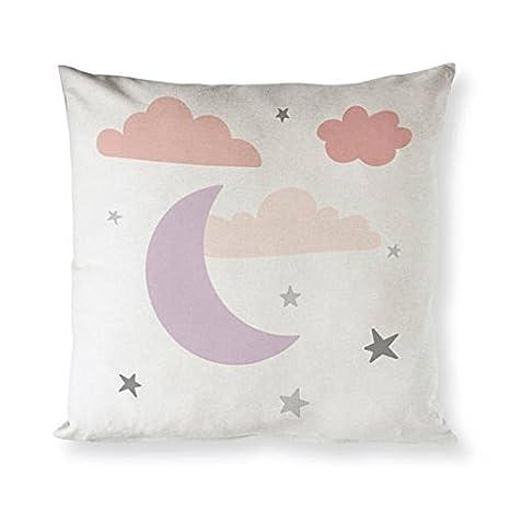 GOODcake Funda de Almohada, Diseño de Nubes Rosas y Luna de ...