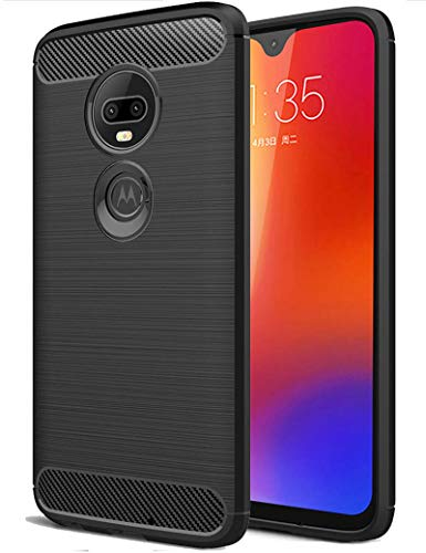 SKTGSLAMY  Moto G7 Case, Ultra [Slim Thin] Carbon Fiber Scratch Resistant Shock Absorption Soft TPU and Anti-Scratch and Non-Slip Case Cover for Motorola Moto G7/G7 Plus Phone (Black)