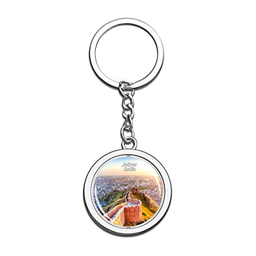 India Keychain Nahargarh Fort Jaipur Key Chain 3D Crystal Spinning Round Stainless Steel Keychains Travel City Souvenirs Key Chain Ring ()