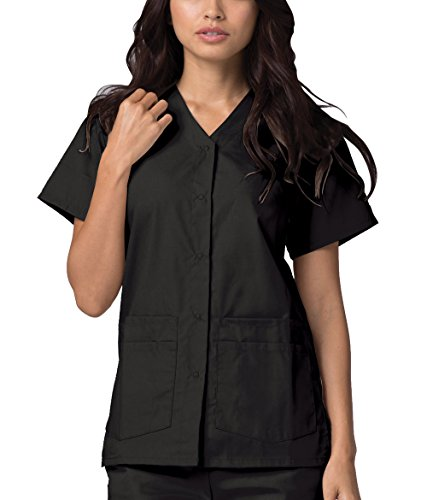Adar Universal Double Pocket Snap Front Top (Available in 39 colors) - 604 - Black - S