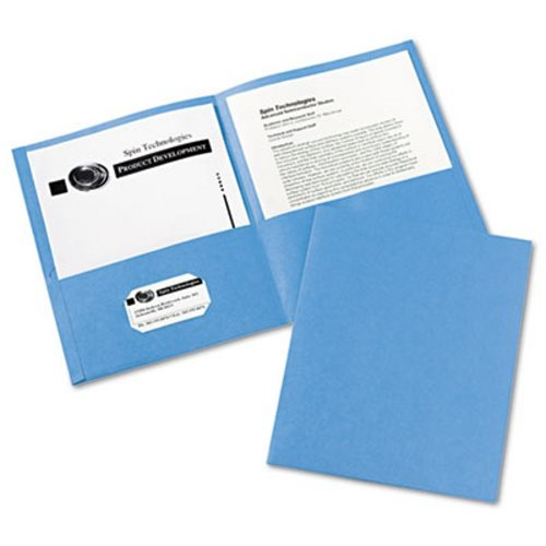 (Two-Pocket Portfolio, Embossed Paper, 30-Sheet Capacity, Light Blue, 25/Box, Sold as 25 Each)