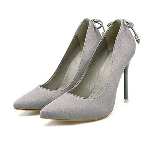 W&LM Sra Tacones altos De acuerdo Boca rasa Zapatos individuales En el talón Propina Ante Zapato Gray