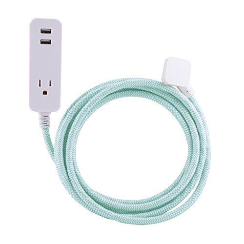 Cordinate Designer 1-Outlet 2-USB Charging Extension Cord with Surge Protection, Mint Braided D