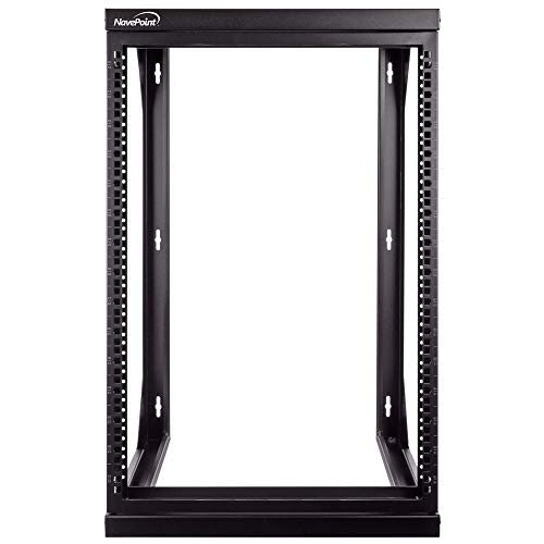 (NavePoint 15U Wall Mount IT Open Frame 19 Inch Rack with Swing Out Hinged Gate Black)