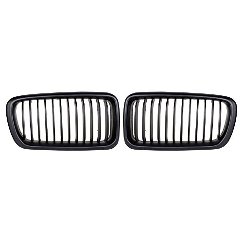 Matte Black Front Hood Wide Kidney Grilles For 1995-2001 E38 740i 740iL 750iL - Wide Style Grille