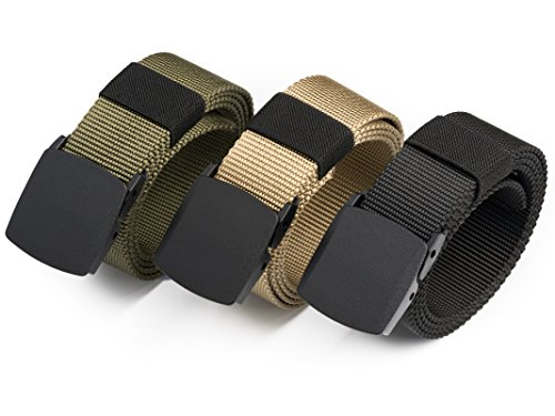 Set of 3 HBY Men's Nylon Military Style Casual Army Outdoor Tactical Webbing Belt (Nylon Belts For Men compare prices)