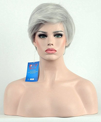 (Diy-Wig Short Straight Silver Gray Halloween Cosplay Synthetic Hair Wig for Elegant)